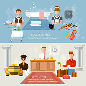Hotel service banners professional hotel staff