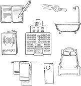 Hotel service concept sketch design icons