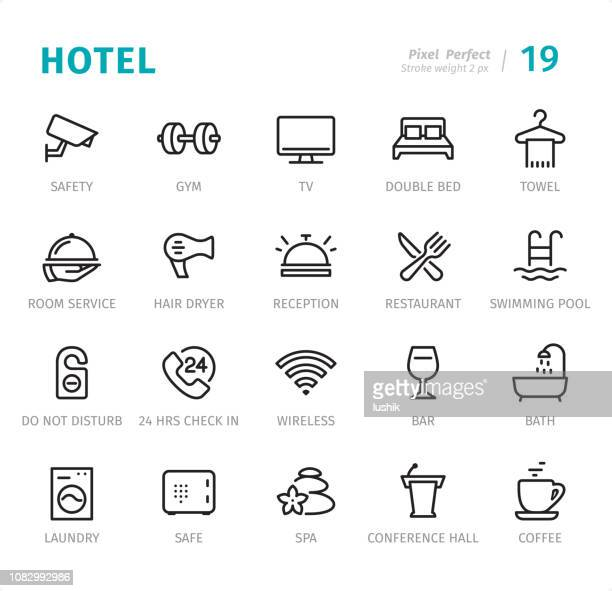 hotel service - pixel perfect line icons with captions - hotel stock illustrations