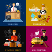 Hotel service set, hotel staff reception reservation morning call cleaning vector illustration