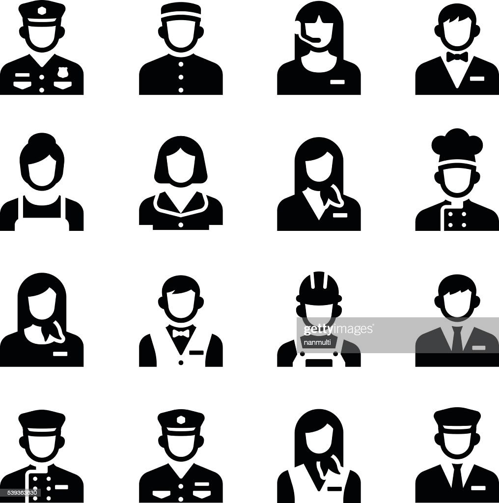 Hotel Service Staff Occupation Avatar Vector Icon Set