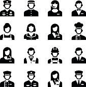 Hotel Service Staff Occupation Avatar Vector Icon Set
