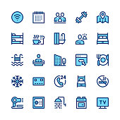 Hotel services and amenities line icons set. Modern graphic design concepts, simple symbols, linear stroke web elements, pictograms collection. Minimal thin line design. Premium quality. Pixel perfect. Vector outline icons
