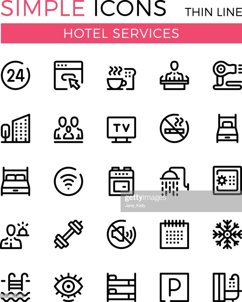 Hotel services and hotel facilities vector thin line icons set. Booking concepts. 32x32 px. Modern line graphic design concepts for websites, web design, etc. Pixel perfect vector outline icons set