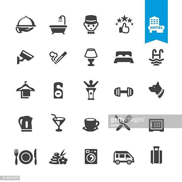 Hotel Dienstleistungen Einrichtungen Vektor Symbole &