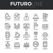 Hotel Services Futuro Line Icons Set
