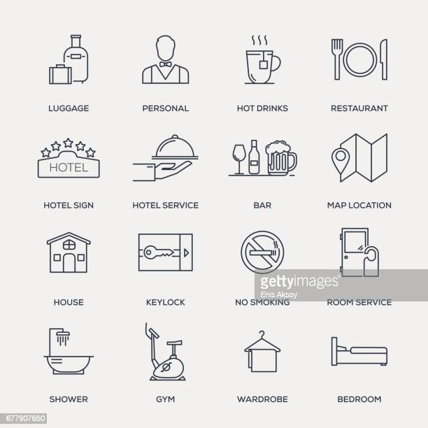 Hotel Services Icon Set - Line Series