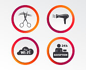 Hotel services icon. Wi-fi, Hairdryer.