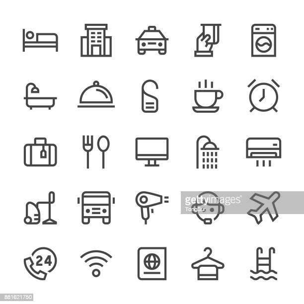ilustraciones, imágenes clip art, dibujos animados e iconos de stock de hotel servicios iconos - línea mediumx - ducha