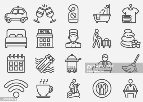 hotel services line icons - hotel stock illustrations