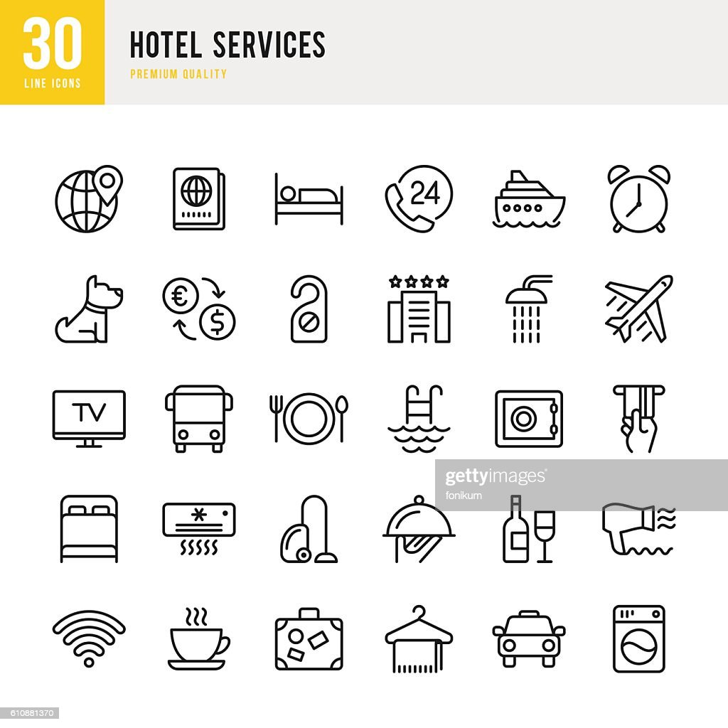 Hotel Services  - set of thin line vector icons : stock illustration