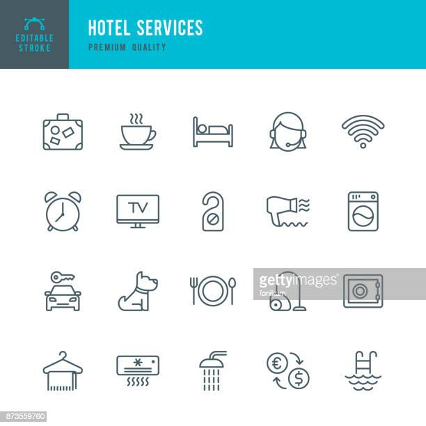 hotel services - set of thin line vector icons - dog stock illustrations
