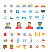 Hotel services vector flat icons set