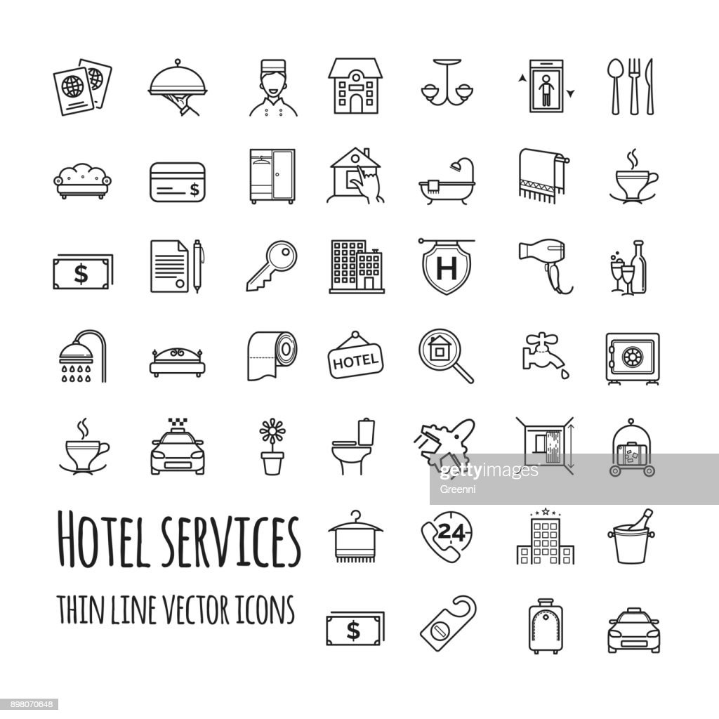 Hotel services vector icons set