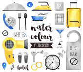 Hotel Services Watercolor Vector Objects