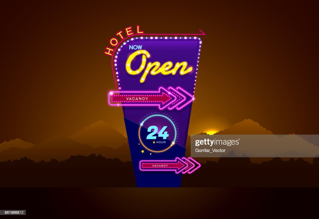 hotel sign buib and neon open vector illustration