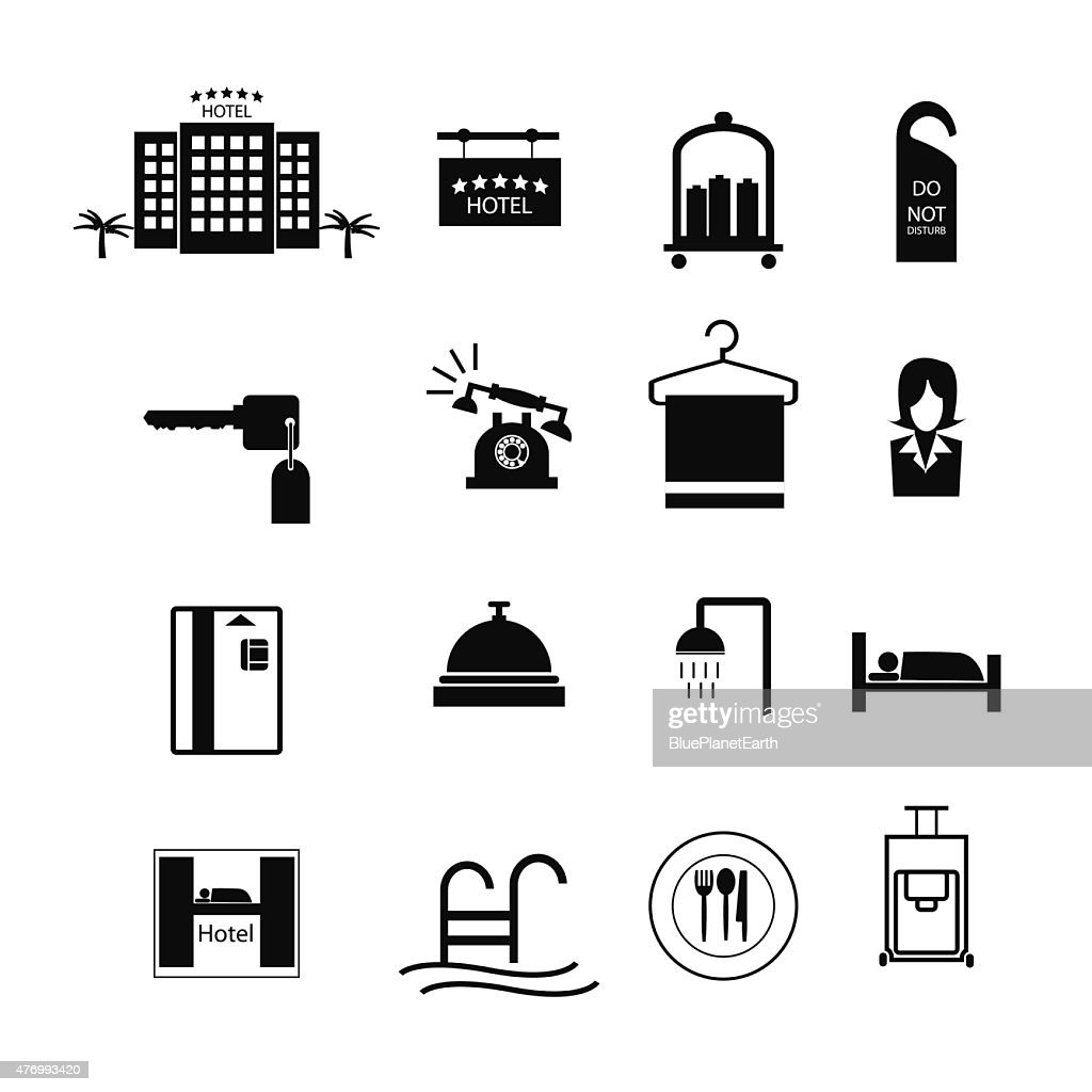 Hotel sign icons vector