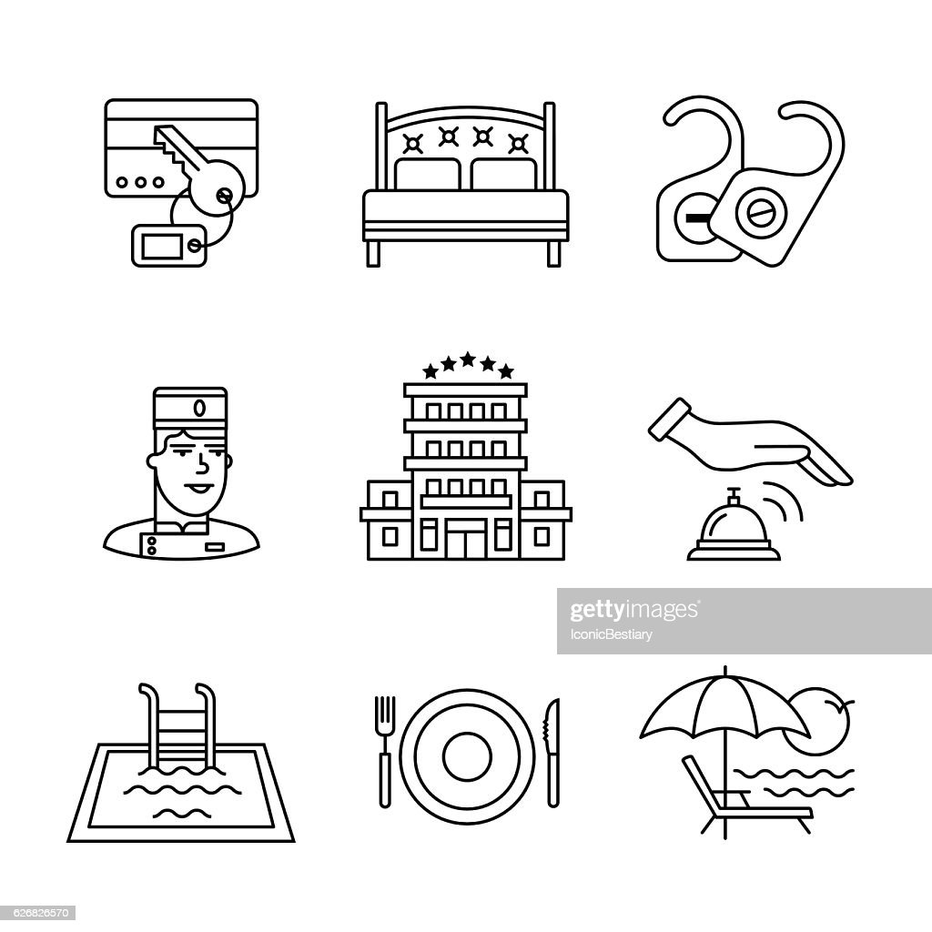 Hotel signs set. Thin line art icons