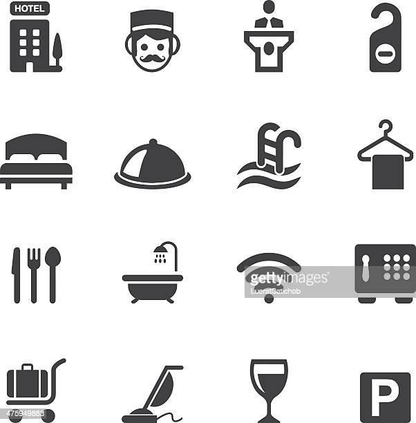 ilustrações, clipart, desenhos animados e ícones de hotel silhueta de ícones 1 - office safety