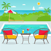 Hotel swimming pool bar, restaurant furniture chairs and table. Vector flat illustration