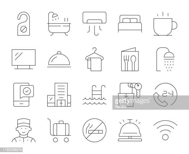 hotel - thin line icons - no smoking sign stock illustrations