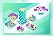 Hotel travel online concept,  landing page template, mobile book
