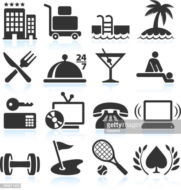 hotel vacation accommodation black & white vector icon set - cardkey stock illustrations, clip art, cartoons, & icons