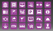 Hotel Vacation Vector Icons Set Illustration
