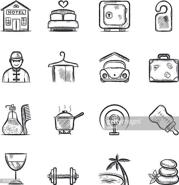 hotel - bed furniture stock illustrations