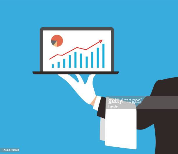 hotel waiter holding a laptop showing the business chart - butler stock illustrations, clip art, cartoons, & icons