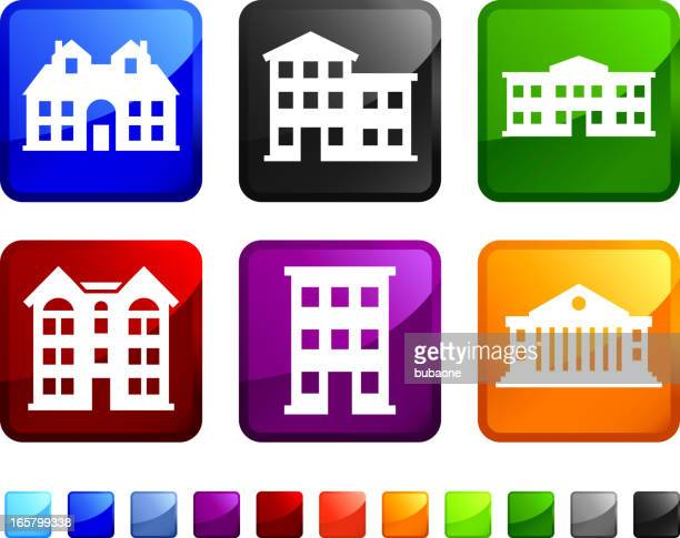 hotels and country club buildings vector icon set stickers - country club stock illustrations, clip art, cartoons, & icons