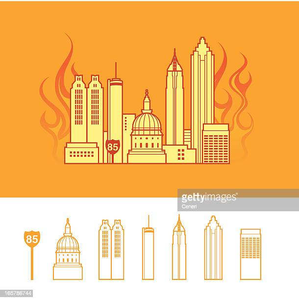 """hotlanta"": cityscape of atlanta georgia usa - atlanta stock illustrations, clip art, cartoons, & icons"