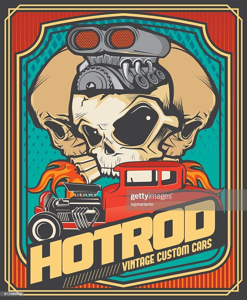 Hotrod vintage cars and turbo skulls