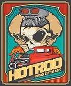 Hotrod vintage cars and turbo skulls