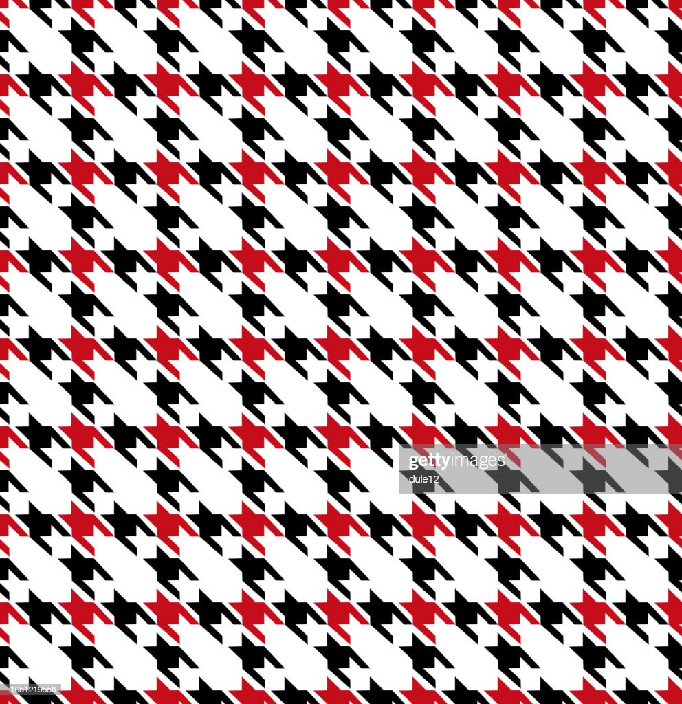 Houndstooth Black Red Seamless Pattern Background