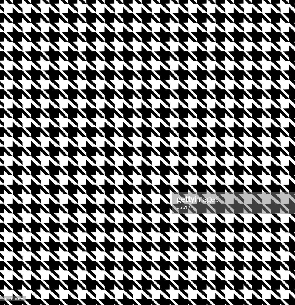Houndstooth Monochromatic Seamless Pattern Background