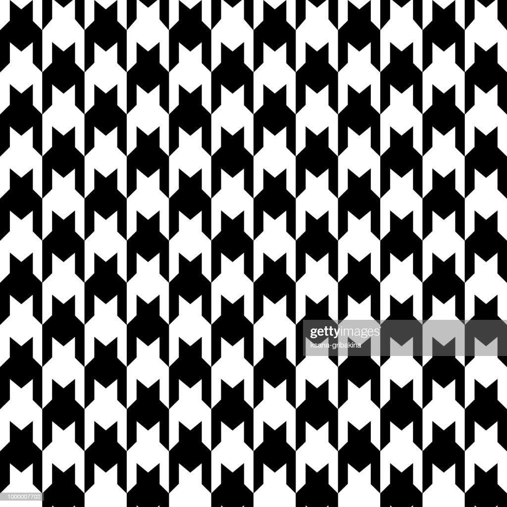 Houndstooth seamless pattern. Balack and white repeatable background.