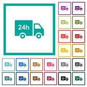 24 hour delivery truck flat color icons with quadrant frames