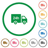 24 hour delivery truck flat icons with outlines