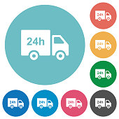 24 hour delivery truck flat round icons