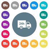 24 hour delivery truck flat white icons on round color backgrounds