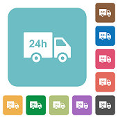 24 hour delivery truck rounded square flat icons