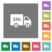 24 hour delivery truck square flat icons