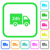 24 hour delivery truck vivid colored flat icons