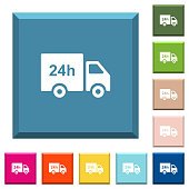 24 hour delivery truck white icons on edged square buttons