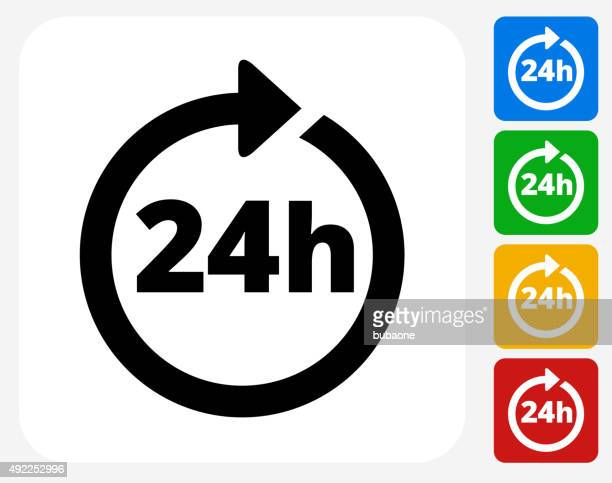 24 hour service icon flat graphic design - accessibility stock illustrations, clip art, cartoons, & icons