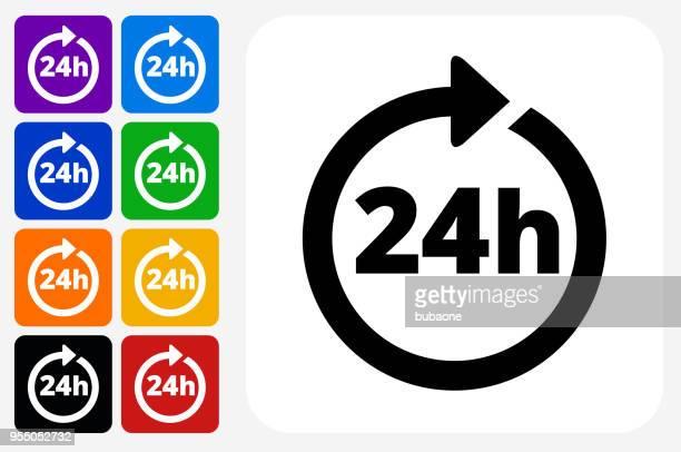 24 時間対応サービスのアイコン スクエア ボタン セット - 24時間営業点のイラスト素材/クリップアート素材/マンガ素材/アイコン素材