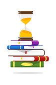 Hourglass And Books.Exam Test on Time Icon Vector Illustration