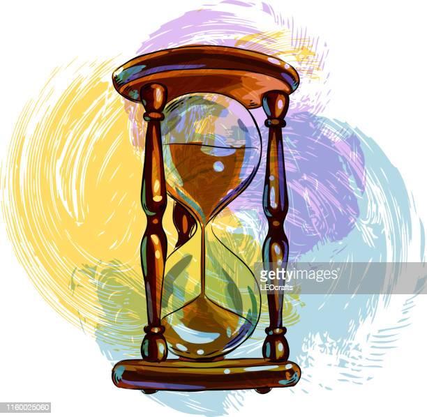 ilustrações, clipart, desenhos animados e ícones de desenho de ampulheta - cronômetro instrumento para medir o tempo