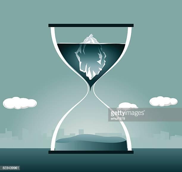 hourglass, iceberg,urgency, global warming, arctic - iceberg ice formation stock illustrations